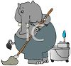 Cartoon of an Elephant Janitor Mopping clipart