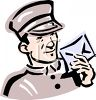 Hotel Bellman Holding a Letter clipart