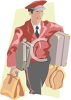 Hotel Service Staff Carrying Luggage for a Guest clipart