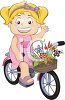 Little Girl Riding Her Bike with a Basket of Flowers on the Handlebars clipart