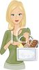 Blond Woman Holding a Shopping Basket Full of Fresh Baked Bread clipart