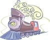 Whimsical Train with Curls of Steam clipart