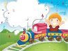 Boy Riding a Miniature Train at a Train Park clipart