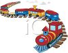 Toy Train on a Track clipart