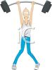 Cartoon of a Skinny Man Lifting a Barbell clipart