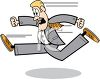 Cartoon of a Late Businessman Running Fast clipart