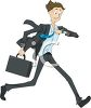 Cartoon of a Man Running Late Checking His Watch clipart