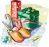 Dutch Christmas Gifts with Wooden Shoes Filled with Candies clipart
