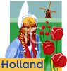 Holland Travel Poster Showing a Dutch Girl with Tulips and a Windmill clipart