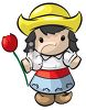 Cute Cartoon Dutch Girl Holding a Tulip clipart