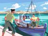 Greek Fishermen  clipart