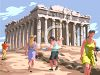 Tourists in Greece at the Parthenon clipart