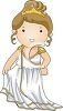 Cartoon of a Little Girl Dressed up Like a Greek Goddess clipart