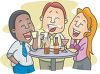 Cartoon of a Group of Friends Having Drinks clipart