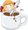 Cartoon of a Little Girl Stirring a Cup of Hot Cocoa clipart
