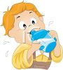 Toddler Drinking Milk from a Sippy Cup clipart