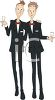 Cartoon of a Gay Couple Wearing Tuxedos at a Party clipart