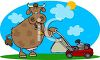 Cow Mowing a Yard clipart