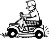 Black and White Cartoon of a Husband Using a Riding Mower to Cut the Grass clipart