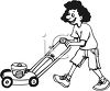 Teen Girl Mowing the Lawn clipart