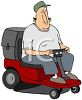 Chubby Dad on a Riding Mower clipart