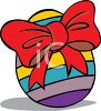 Cartoon Striped Easter Egg with a Big Bow clipart