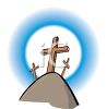 Three Wooden Crosses On Top of Calvary Hill clipart