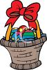 Cartoon Easter Basket Filled with Decorated Eggs clipart