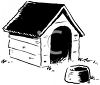 Black and White Image of a Doghouse clipart