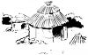 Black and White Image of a Grass Hut with a Thatched Roof clipart