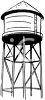 Black and White Image of a Water Tower clipart