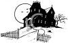 Black and White Image of a Haunted Victorian House clipart