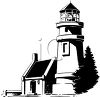 Black and White Image of a Lighthouse clipart