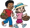 African American Boy and Caucasian Girl Going Easter Egg Hunting clipart