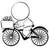 Chinese Man Delivering Groceries on a Bike clipart