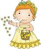 Cute Cartoon Flower Girl at a Wedding clipart