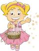 Flower Girl Tossing Petals at a Wedding clipart