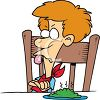 Red Haired Boy Refusing to Eat His Vegetables clipart