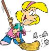 Little Girl Helping Around the House by Sweeping clipart