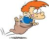 Red Haired Boy in a Potato Sack Race clipart