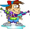 Cartoon of a Bully with Big Water Guns clipart