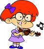 Little Red Haired Girl Having a Violin Lesson clipart