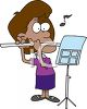 African American Girl Practicing the Flute clipart