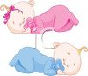 Fraternal Twin Babies Sleeping clipart
