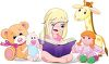 Adorable Little Girl Reading to Her Stuffed Animals clipart