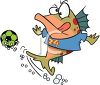 Cartoon of a Fish Playing Soccer clipart