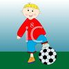 Happy Boy Playing Soccer clipart