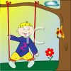 Little Boy Sitting on a Tree Swing clipart
