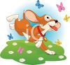 Playful Puppy Chasing Butterflies clipart