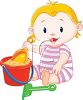 Toddler Playing with Sand in a Bucket clipart